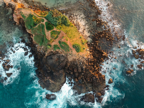 Aerial view of the southern coast of Sri Lanka.