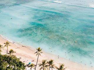 Top down view of Waikiki Beach in Honolulu