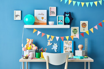 Kid's workspace with beautiful decoration.