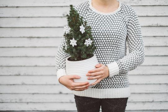 Woman holding a smal Christmas tree