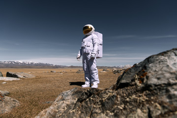 Person in cosmonaut costume standing on valley with stones