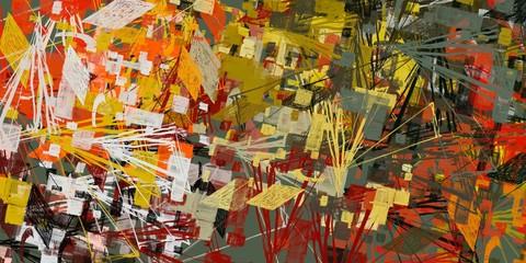 Fotobehang Nepal Art wallpaper. Digital canvas. 2d illustration. Texture backdrop painting. Creative chaos structure element.