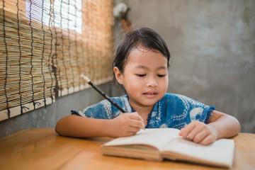 Asian children drawing