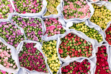 Bouquets of colorful flowers on the market