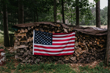 USA Flag on a Woodpile