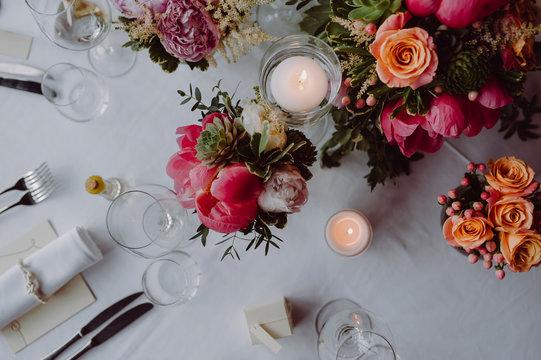 Elegant Wedding Table with Decoration