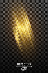 Wall Mural - Light effect of golden abstract random neon lines isolated on transparent background. Glowing motion blur effect. Flying glowing particles. Vector illustration