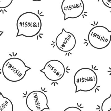 Shout speech bubble icon seamless pattern background. Complain vector illustration on white isolated background. Angry emotion business concept.
