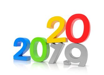 3d illustration - 2019 - 2020 - Silvester, Neujahr, Countdown, Jahreszahlen - bunt, farbenfroh