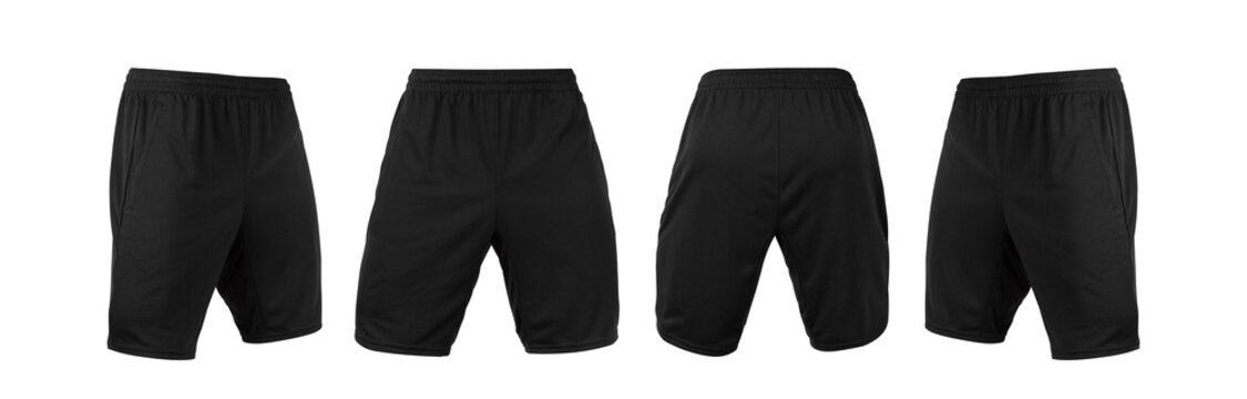 Blank black shorts pant mock up template, front and back and side view, isolated on white background with clipping path.
