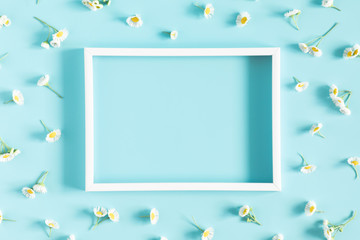 Beautiful flowers composition. Blank frame for text, spring and summer chamomile white flowers on pastel blue background. Flat lay, top view, copy space