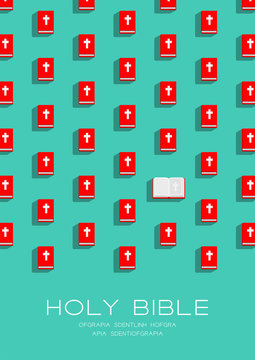 Holy Bible book 3D isometric pattern, Christian faithful concept poster and banner vertical design illustration isolated on green background with copy space, vector eps 10