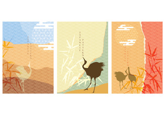 Crane birds with Japanese template vector. Bamboo and moon elements.