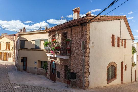 Street village view. El Papiol, Catalonia, Spain.