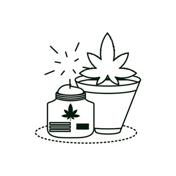 cannabis bottle product with houseplant