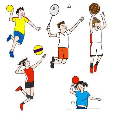 ハンドボール・バドミントン・バスケットボール・バレーボール・卓球オリンピック室内競技イラストセット