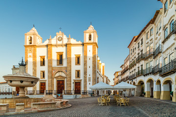 Giraldo Square and Antao Church in Evora, Portugal