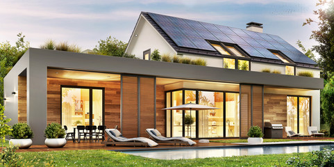 Modern house with solar panels on the gable roof Wall mural