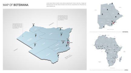 Vector set of Botswana country.  Isometric 3d map, Botswana map, Africa map - with region, state names and city names.