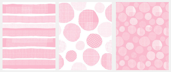 Hand Drawn Childish Style Geometric Vector Patterns. Pink Vertical Stripes and Irregular Big Dots on a White Background. White Grid On a Pink Lines and Spots. Funny Print for Textile, Wrapping Paper.