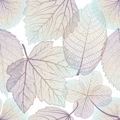 Seamless pattern with leaves. Vector illustration. EPS 10.