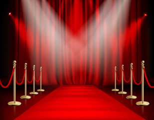Red Carpet With Curtain