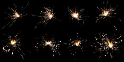Set of sparklers on black background
