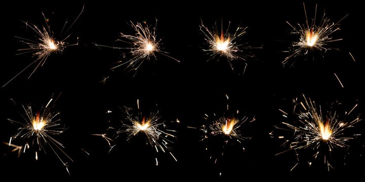 Set of sparklers on black background
