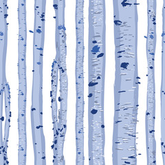 Repeated seamless pattern of blue birch trees