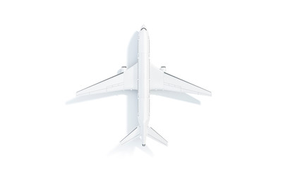 Blank white aeroplane mock up stand, top view isolated, 3d rendering. Clear company aerial airplane landing mockup. Empty boing model aircraft for brand and logotype template.
