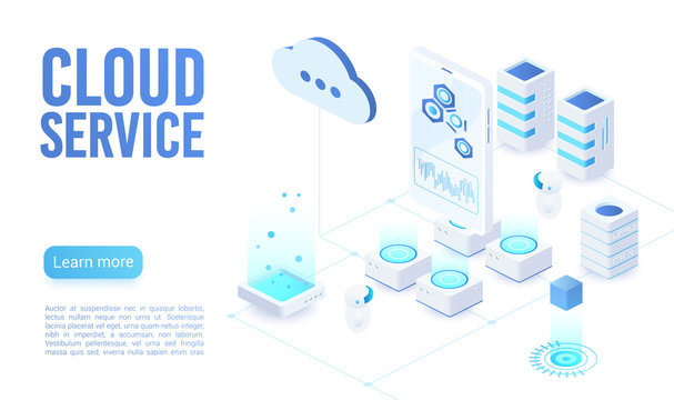 Cloud service soft light landing page isometric vector template. Programmer synchronizing personal information. Database neon storage, data encryption and protection. Cloud computing website homepage