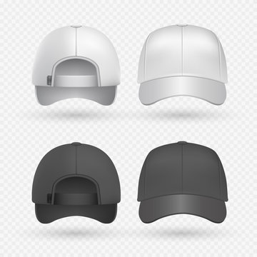 Realistic black and white sport caps isolated on transparent background. Baseball hat design templates vector illustration