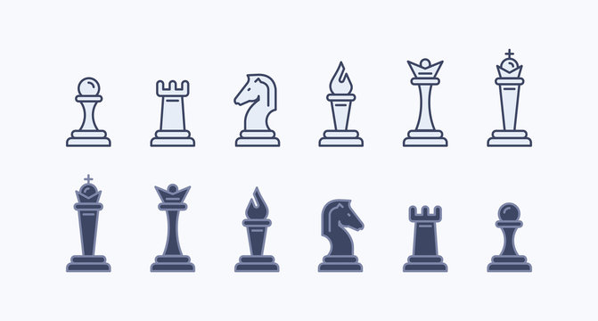 set of linear icons on a white background, types of chess pieces