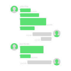 Wall Mural - Chat app template. Short message service vector illustration with text bubbles. Message speech bubble for communication, green style sms mobile