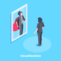 isometric vector image on a blue background, a woman in a business suit stands in front of a mirror in which she is reflected as a superman with a red cloak, the motivation for success in business