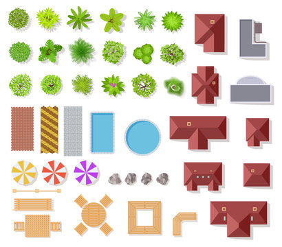 Top view garden elements. Aerial houses, green trees and bushes, pool and benches for landscape architectural plan vector items isolated set