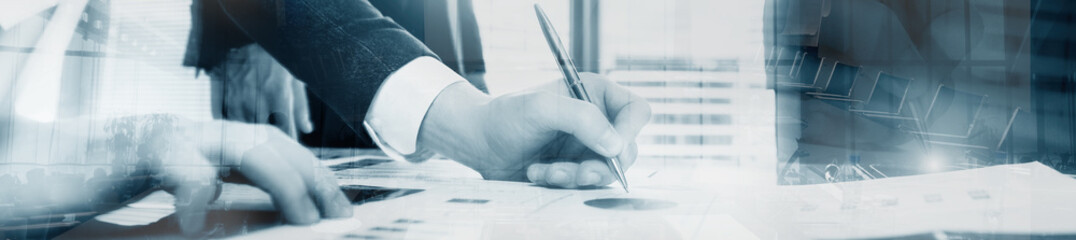 Business man signing a contract. Website header banner progect panorama.