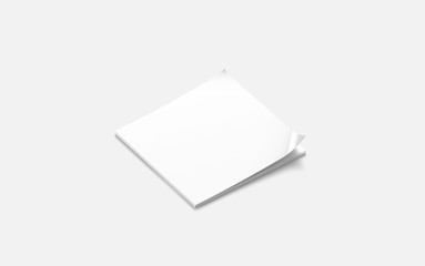Blank white closed square journal mock up, side view, 3d rendering, isolated. Clean book mockup design display. Empty squared catalog. Clear quadratic magazine for printing template.