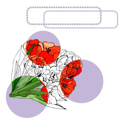 Template for invitation or greeting card  with  blossoming red tulip flowers, lilac circle and frames. Hand drawn ink and colored sketch  on white background