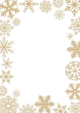 Goldene frostige Schneeflocken auf einem weißen Hintergrund. Goldenes Schneeflocken Muster als Rahmen. Für Briefe, Grußkarten, Fotorahmen oder als Hintergrund.