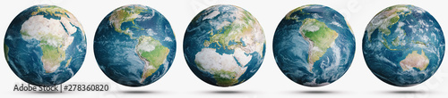 Wall mural Planet Earth clouds globe set