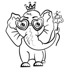 Elephant in the crown and with a flower and glasses in the shape of hearts. Isolated object. African animal for coloring. Valentine's Day. Feast of Love. Vector illustration. - Vector