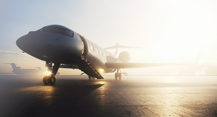 Business private jet airplane parked at terminal. Luxury tourism and business travel transportation concept. 3d rendering Fototapete