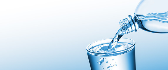 Banner Of Purified Water Pouring From Bottle Into Glass Cup On Clean Gradient Background - Healthy...