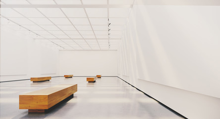 Exhibition interior with blank picture frames. Gallery with spot lights, natural sunlights and empty canvas. 3d rendering.