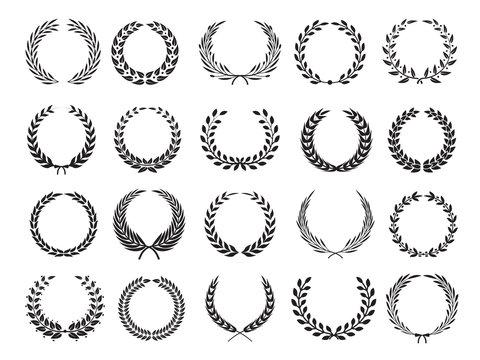 Greek branch. Circle victory award wreath with leaves vector elleents for emblems labels. Branch laurel wreath, emblem floral victory illustration