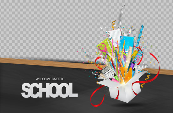 Welcome back to school background with wooden frame blackboard and open gift box with study supplies. Transparent space for custom photo. Vector illustration.