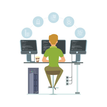 Programmer, information technology worker vector illustration. Programming icons and software developer isolated on white background. Business programming worker, computer programmer, developer coding