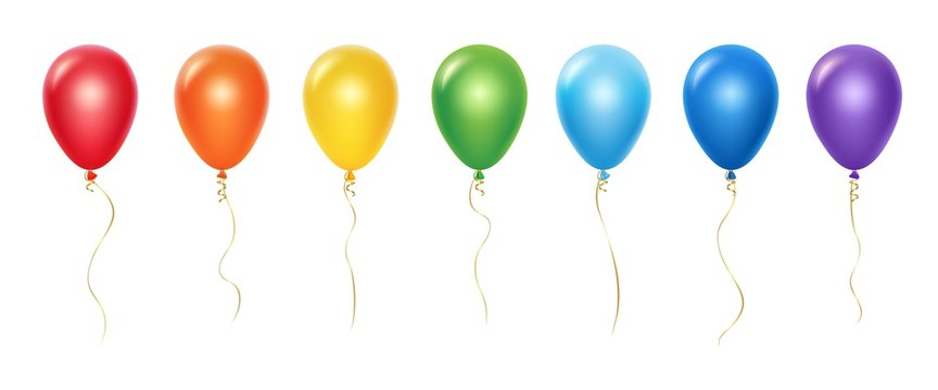 Realistic rainbow balloons vector set. Balloons with ribbons isolated on white background. Balloon realistic for festival, flying helium ball illustration