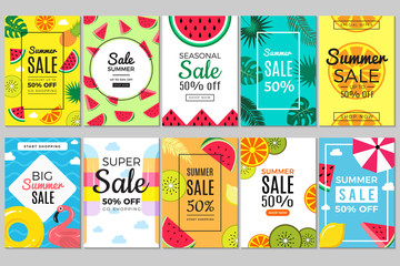 Summer banners. Tropical colored vacation pictures flyer cards with watermelon and flamingos, swimming circle and parasol for summer promotion sales vector template set